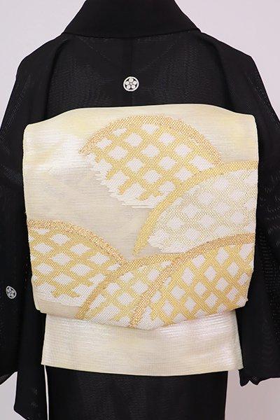 あおき【L-5758】紗 袋帯 鳥の子色 蛇籠の図
