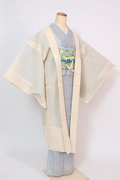 銀座【E-1430】小千谷縮 羽織 練色 無地(証紙付・羽織紐付)(N)