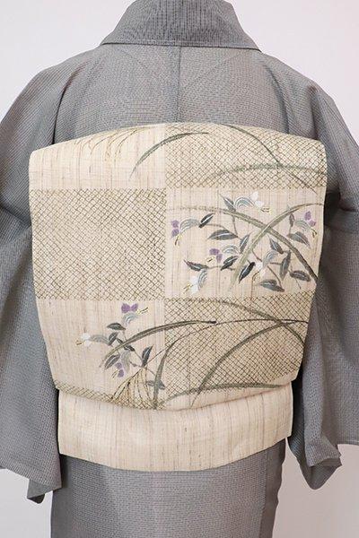 あおき【K-7677】生平麻地 染名古屋帯 練色 市松に秋草の図