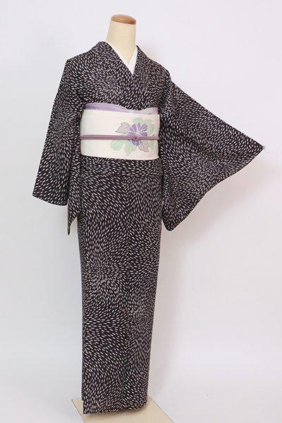 あおき【D-2880】(S)紋紗 小紋 紫黒色 狢菊文
