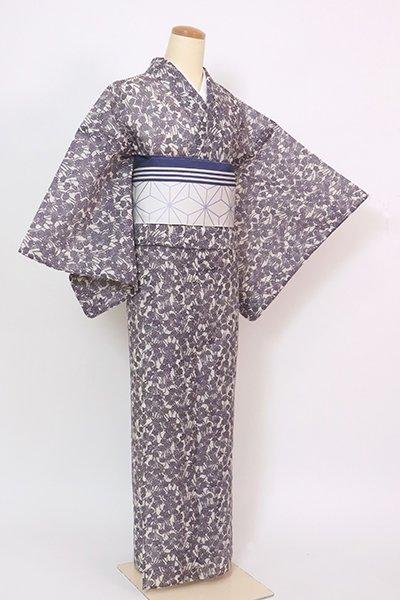 あおき【D-2883】(細め)東京本長板染め 絹紅梅 浴衣 濃鼠色 芝や菊花など(反端付)