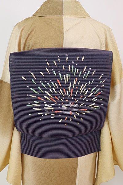 あおき【K-7679】絽綴れ 八寸織名古屋帯 滅紫色 花火の図(ますいわや扱い)