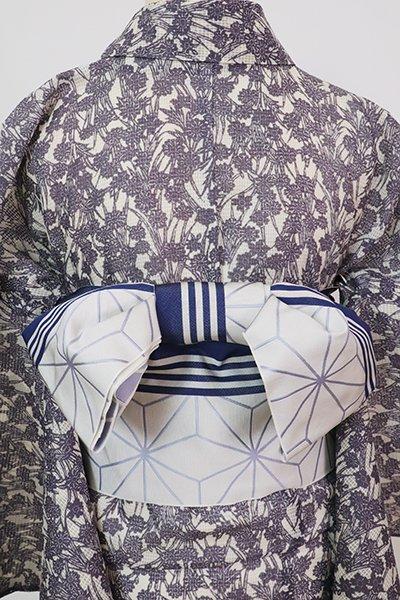 銀座【K-7681】本場筑前博多織 半幅帯 絹鼠色×濃藍色 麻の葉文(証紙付)