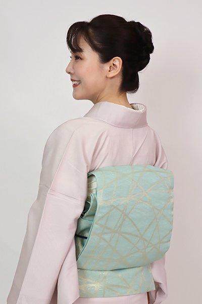 あおき【L-5747】紗 本袋帯 淡い青磁色 芝文