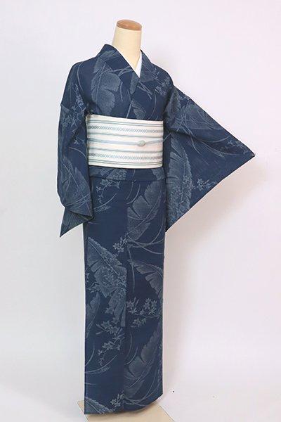 あおき【D-2884】竺仙製 乱絽 浴衣 濃藍色 芭蕉に秋草の図(反端付)