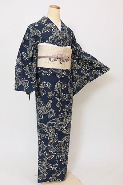 銀座【D-2885】(細め)綿紅梅 本藍染め 浴衣 留紺色 鶴と亀の図(反端付)