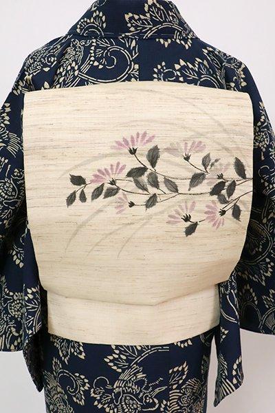 あおき【K-7684】生平麻地 染名古屋帯 浅黄色 菊の図