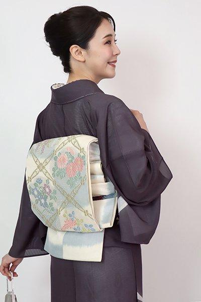 あおき【L-5749】夏 袋帯 練色×藍鼠色 斜め格子に四季花