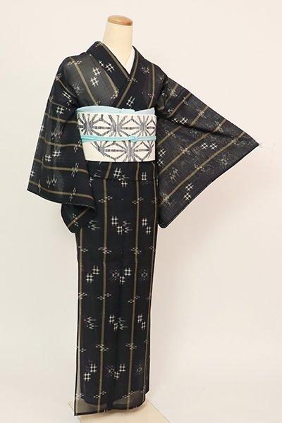 あおき【A-3419】(広め)夏琉球絣 黒色 絣文