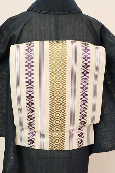 あおき【K-7687】本場筑前博多織 紗献上 八寸織名古屋帯 象牙色(証紙付)(N)