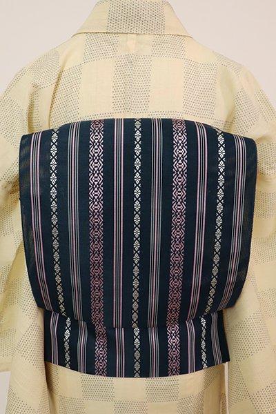 あおき【K-7688】本場筑前博多織 紗献上 八寸織名古屋帯 深い濃藍色(証紙付)(N)