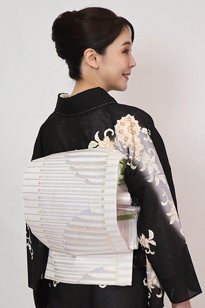 あおき【L-5750】西陣 洛陽織物製 夏袋帯 白色 抽象文(落款入)