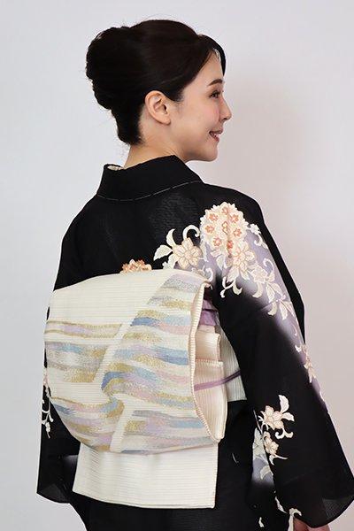 あおき【L-5751】絽 袋帯 白色 抽象文
