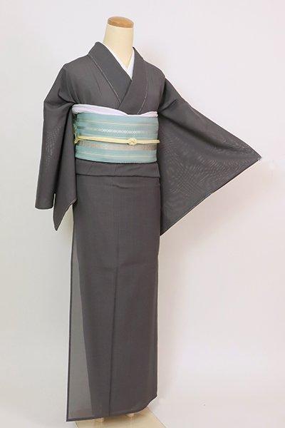 あおき【A-3420】(L・広め)東郷織物製 夏大島紬 藍墨茶色 微塵格子(反端付)