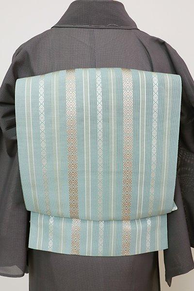 あおき【K-7690】博多織 紗献上 八寸名古屋帯 浅縹色