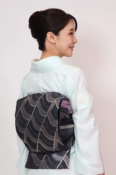 あおき【L-5752】絽 袋帯 藍鉄色 瓦文