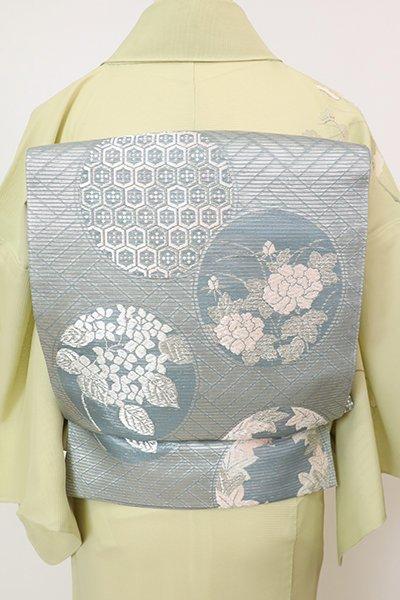 あおき【L-5759】絽 袋帯 舛花色 丸に四季花の図(三越扱い)