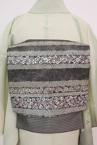 あおき【L-5761】西陣 加納幸製 絽 袋帯 藍墨茶色 横段に花の図(反端付)