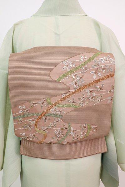 あおき【L-5762】絽 袋帯 梅染色 霞取りに鬘帯や萩の図