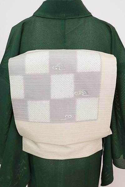 あおき【K-7693】絽 染名古屋帯 灰白色 市松に流水や蛇籠の図(長尺)