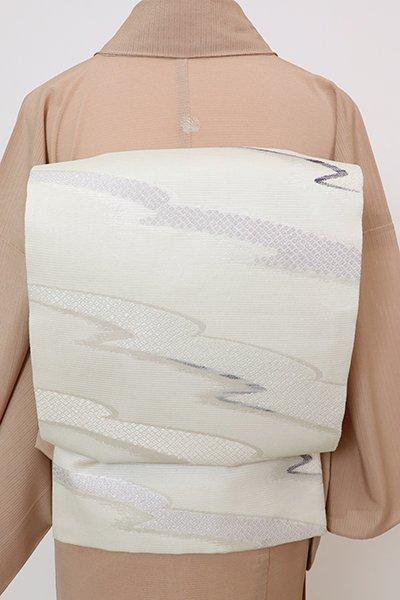 あおき【L-5763】絽 袋帯 白磁色 霞に疋田文