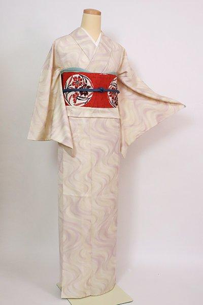 銀座【D-2893】(細め)きもの英製 単衣 小紋 鳥の子色 抽象文