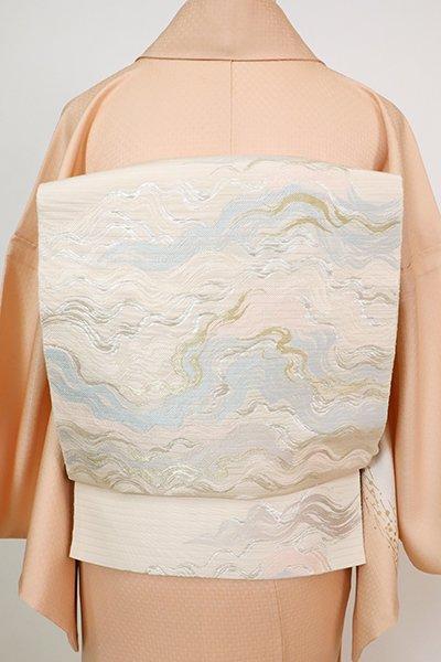 あおき【L-5766】西陣 服部織物 こはく錦 絽 袋帯 薄卵色 抽象文(落款入・紙札付)