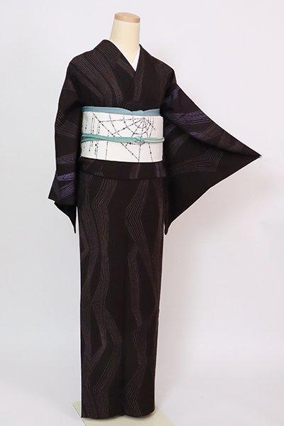 銀座【D-2895】(広め)単衣 紬地 小紋 黒紅色 幾何文