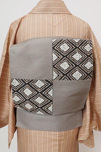 銀座【K-7705】八寸織名古屋帯 黒橡色 菱文