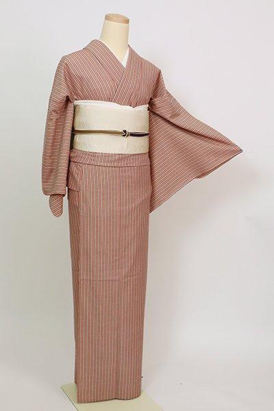 あおき【A-3429】(細め)単衣 綿紬 小豆色 竪縞