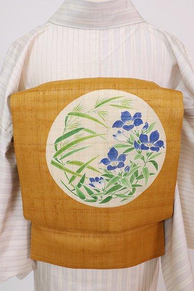 銀座【K-7709】紬地 染名古屋帯 狐色 秋草の図