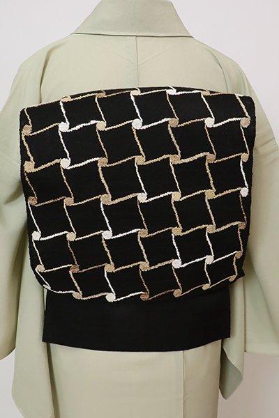 銀座【K-7711】夏 八寸織名古屋帯 黒色 瓦文