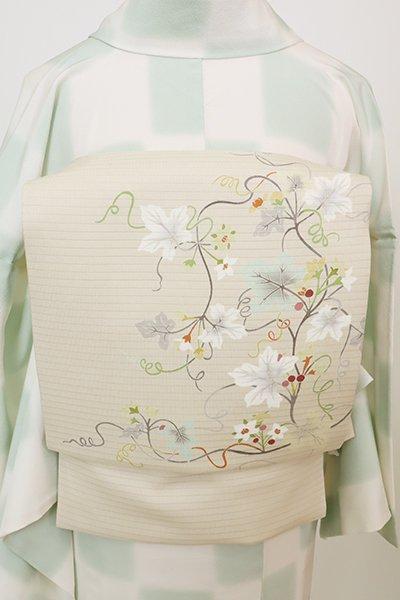 銀座【K-7713】絽 染名古屋帯 灰白色 蔓花の図