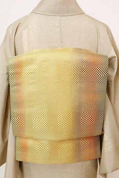 銀座【K-7715】博多織 八寸織名古屋帯 芥子色 竪暈かしに幾何文(長尺)