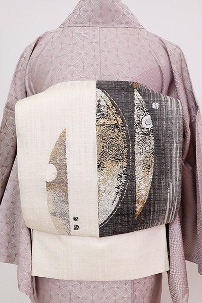 銀座【L-5774】西陣 渡文製 二部式 洒落袋帯 練色 抽象文 リバーシブル(落款入)