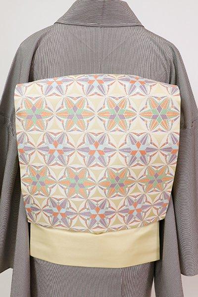 銀座【K-7730】西陣 川島織物製 織名古屋帯 蒸栗色 幾何文(落款入)
