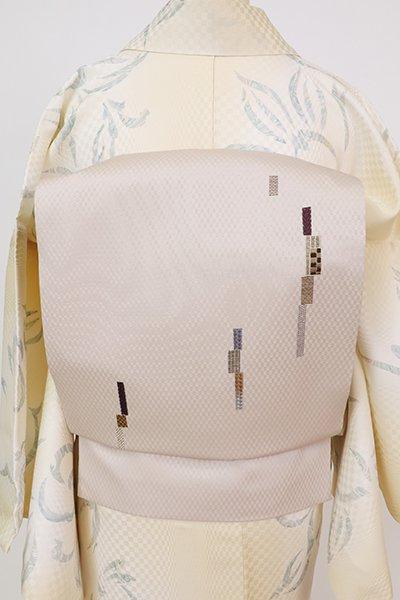 銀座【K-7736】刺繍 名古屋帯 枯野色 幾何文