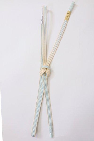 【G-1880】京都 衿秀製 帯締め 畝打組 白藍×薄卵色 二色暈かし