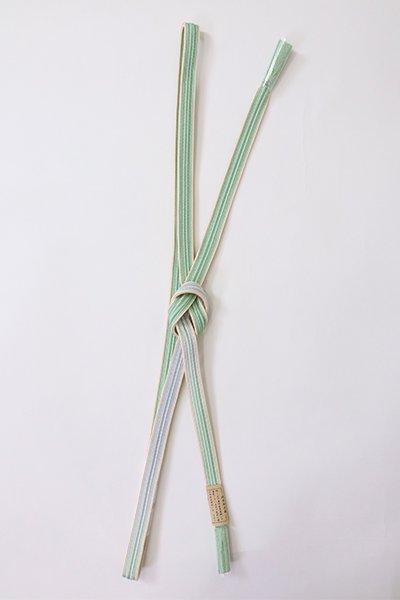 【G-1882】京都 衿秀製 帯締め 綾竹組 薄萌葱色×水色 二色暈かし