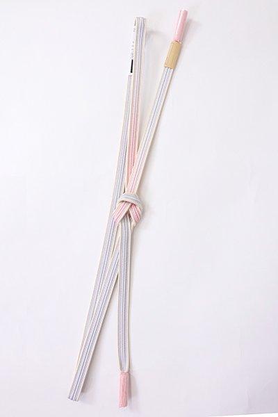 【G-1883】京都 衿秀製 帯締め 畝打組 撫子色×白梅鼠色 二色暈かし