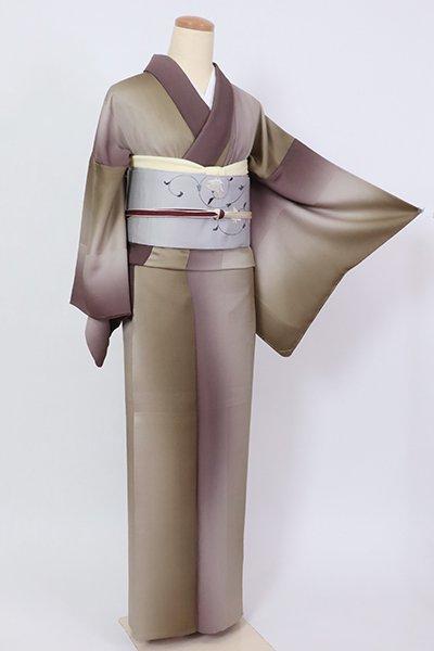 あおき【D-2903】単衣 小紋 竪暈かし 肥後煤竹色×濃色 (反端付)