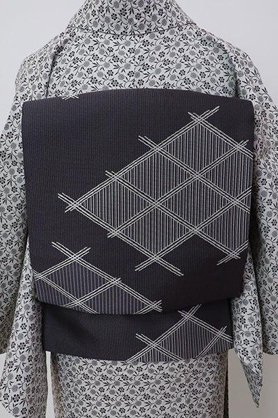 銀座【L-5777】袋帯 藍墨茶色 破れ斜め格子
