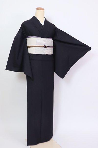 銀座【A-3446】(L・細め)御召 紫黒色 麻の葉文