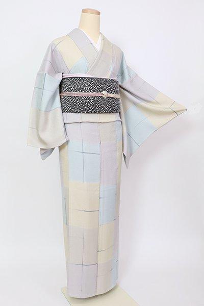 銀座【D-2904】単衣 小紋 多彩な市松に格子文