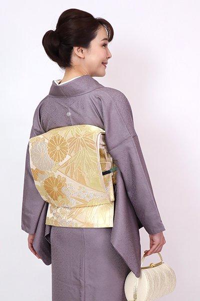 銀座【L-5770】西陣 川島織物製 本袋帯 金色 菊や竹の図(落款入)