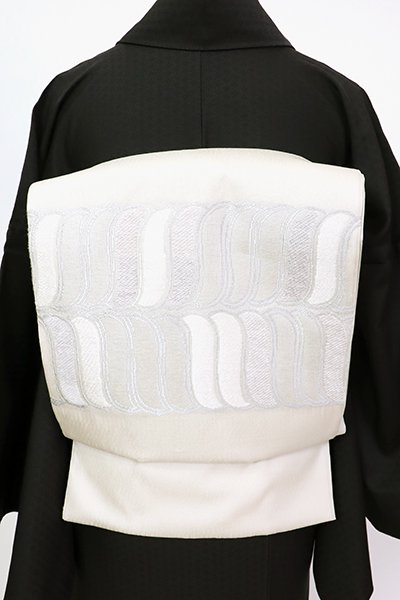 あおき【L-5778】袋帯 モール織 練色 抽象文