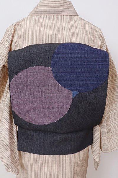銀座【K-7760】八寸織名古屋帯 褐色 丸文