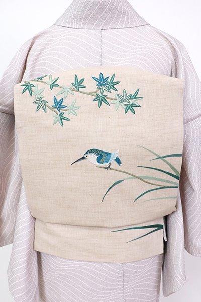 銀座【K-7761】紬地 刺繍 名古屋帯 亜麻色 楓にカワセミの図