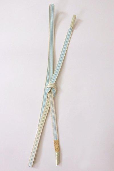 【G-1884】京都 衿秀製 帯締め 畝打組 水色×白緑色 二色暈かし