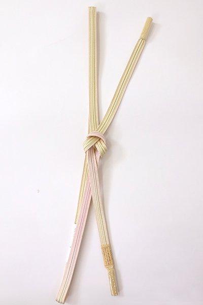 【G-1886】京都 衿秀製 帯締め 綾竹組 女郎花色×薄桜色 二色暈かし